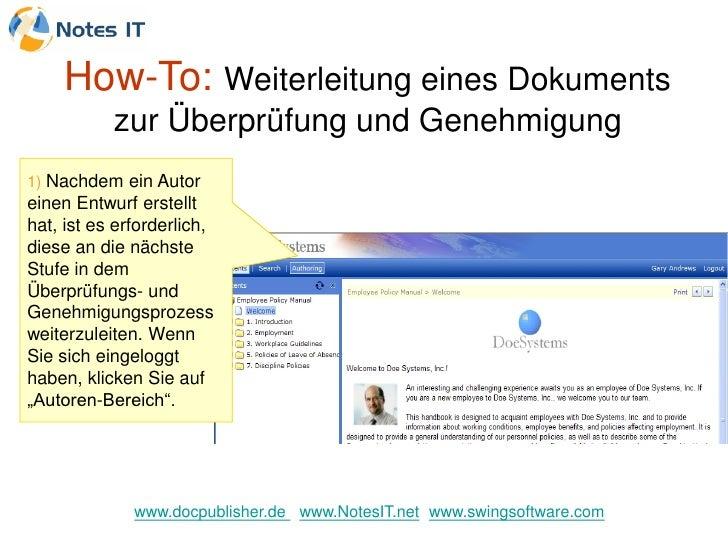 How-To: Weiterleitung eines Dokuments            zur Überprüfung und Genehmigung 1) Nachdem ein Autor einen Entwurf erstel...