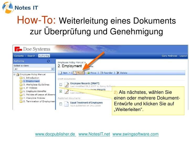 How-To: Weiterleitung eines Dokuments   zur Überprüfung und Genehmigung                                             2) Als...