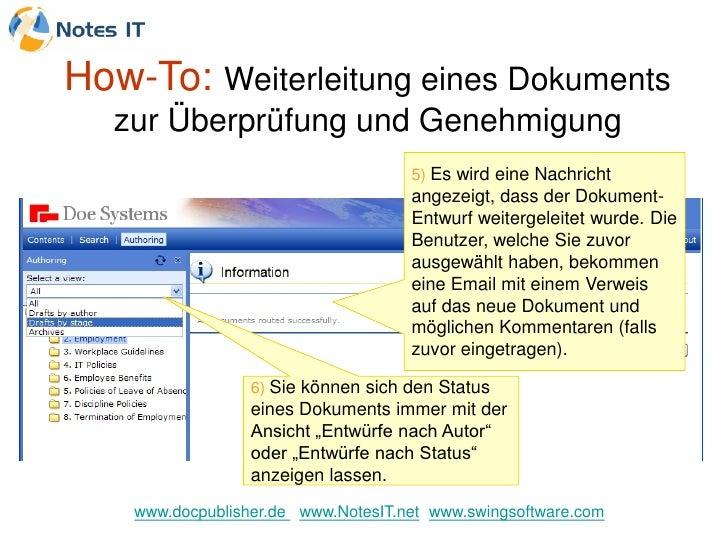 How-To: Weiterleitung eines Dokuments   zur Überprüfung und Genehmigung                                      5) Es wird ei...