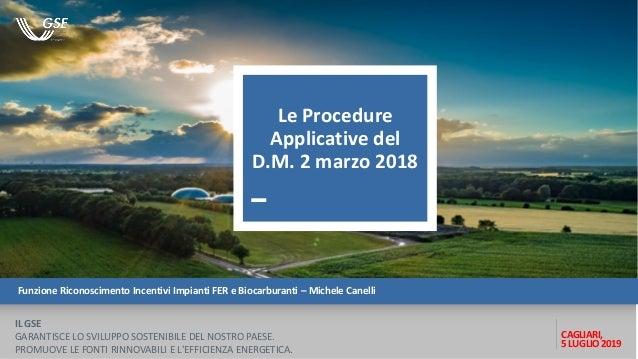 Funzione Riconoscimento Incentivi Impianti FER e Biocarburanti – Michele Canelli CAGLIARI, 5 LUGLIO 2019 IL GSE GARANTISCE...