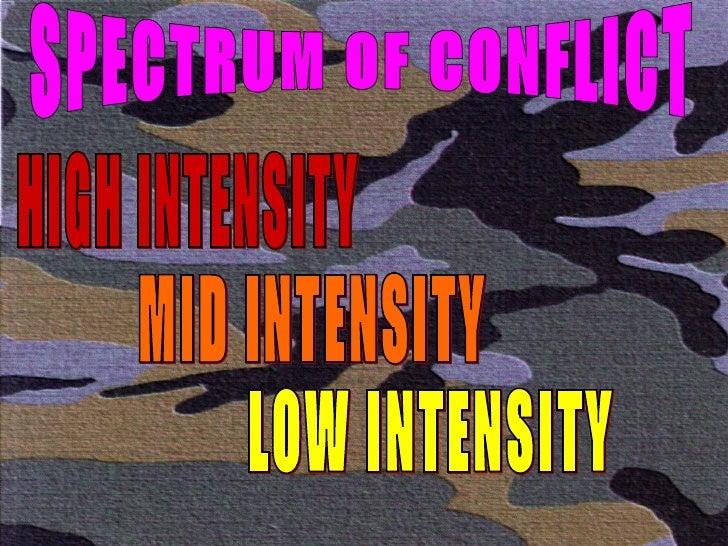 SPECTRUM OF CONFLICT HIGH INTENSITY MID INTENSITY LOW INTENSITY