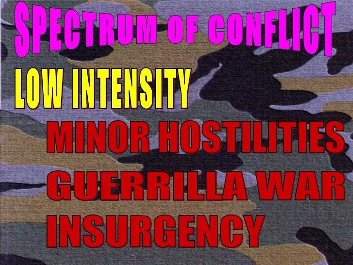 SPECTRUM OF CONFLICT LOW INTENSITY MINOR HOSTILITIES GUERRILLA WAR INSURGENCY