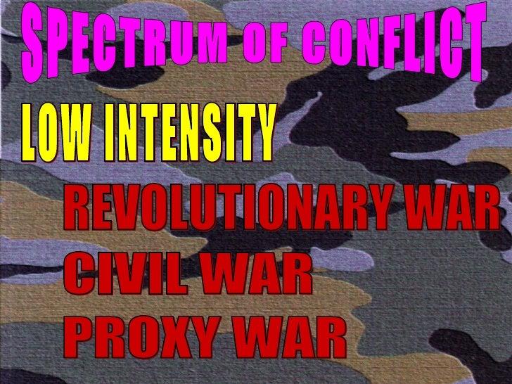 SPECTRUM OF CONFLICT LOW INTENSITY REVOLUTIONARY WAR CIVIL WAR PROXY WAR