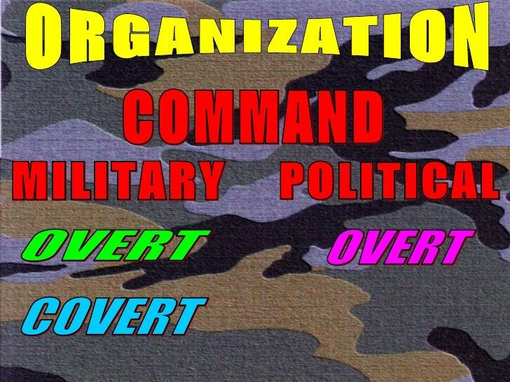 ORGANIZATION COMMAND MILITARY POLITICAL OVERT COVERT OVERT