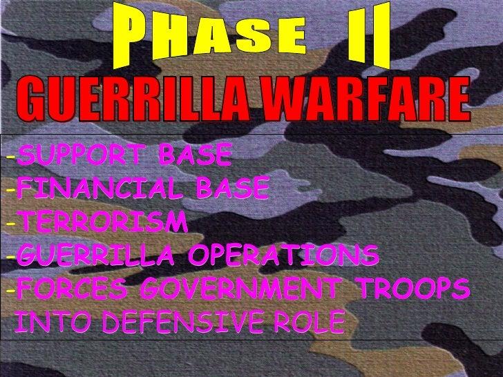GUERRILLA WARFARE PHASE  II <ul><li>SUPPORT BASE </li></ul><ul><li>FINANCIAL BASE </li></ul><ul><li>TERRORISM </li></ul><u...