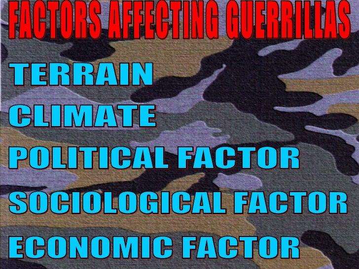 FACTORS AFFECTING GUERRILLAS TERRAIN CLIMATE POLITICAL FACTOR SOCIOLOGICAL FACTOR ECONOMIC FACTOR