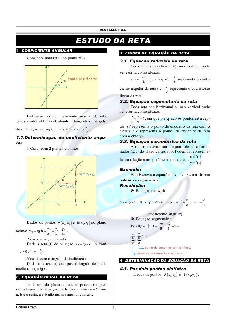 MATEMÁTICA                                                            ESTUDO DA RETA 1. COEFICIENTE ANGULAR               ...