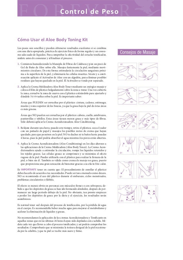 C o nt ro l d e Pes oCómo Usar el Aloe Body Toning KitLos pasos son sencillos y pueden obtenerse resultados excelentes si ...