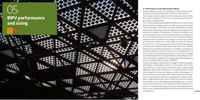 51 BIPV performance and sizing 05 5.1 The Physics of the Photovoltaic Effect The photovoltaic solar panel can be defined a...