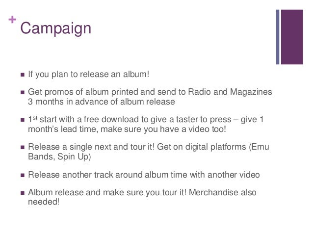 + Campaign  If you plan to release an album!  Get promos of album printed and send to Radio and Magazines 3 months in ad...