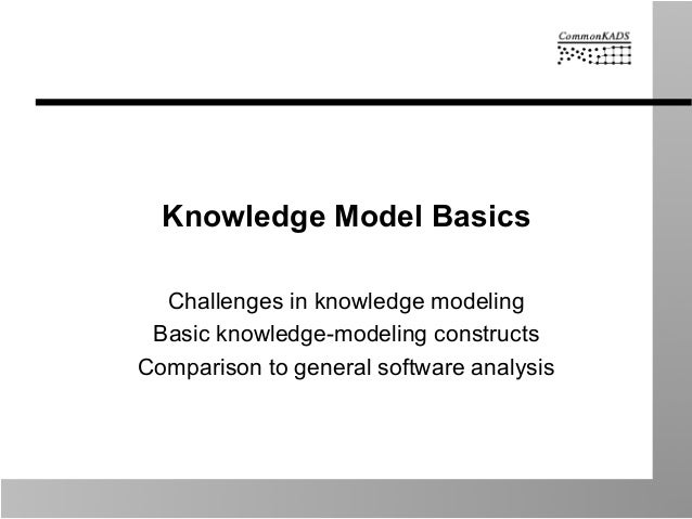 Knowledge Model Basics Challenges in knowledge modeling Basic knowledge-modeling constructs Comparison to general software...