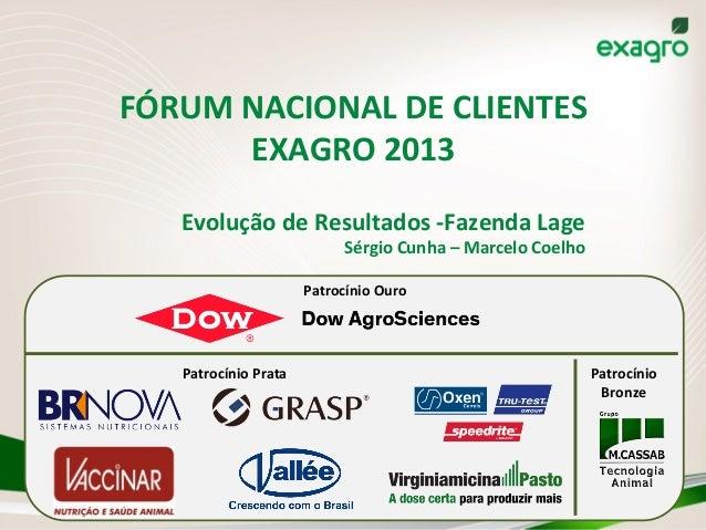 FÓRUM  NACIONAL  DE  CLIENTES   EXAGRO  2013   Evolução  de  Resultados  -‐Fazenda  Lage   Sérgio ...