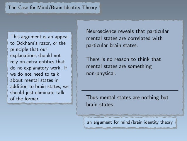 argumentive essay on mind brain identity theory This essay will describe in detail the different perspectives held within behaviourism from classical conditioning to the social learning theory and discuss the strengths and weakness surrounding these theories.
