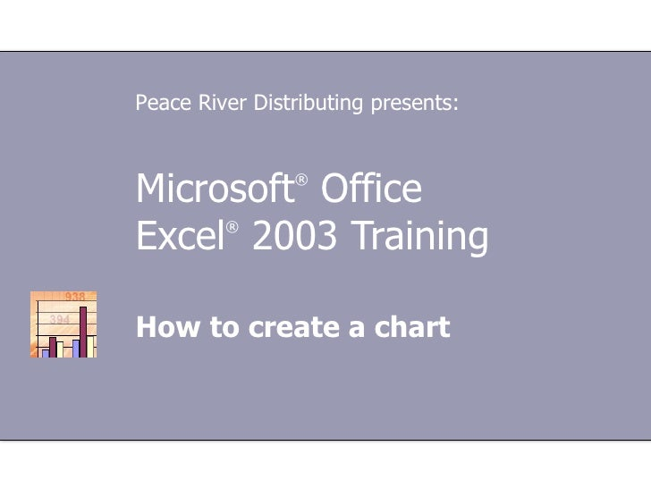 Microsoft ®  Office  Excel ®  2003 Training How to create a chart Peace River Distributing presents: