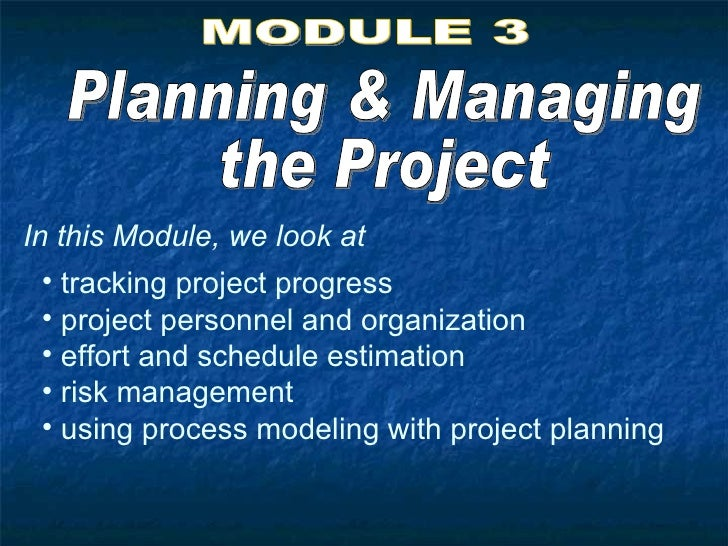 Planning & Managing the Project MODULE 3 In this Module, we look at <ul><li>tracking project progress </li></ul><ul><li>pr...