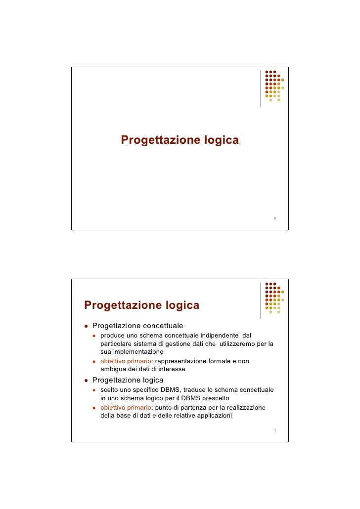 Progettazione logica                                                                       0     Progettazione logica  Pro...