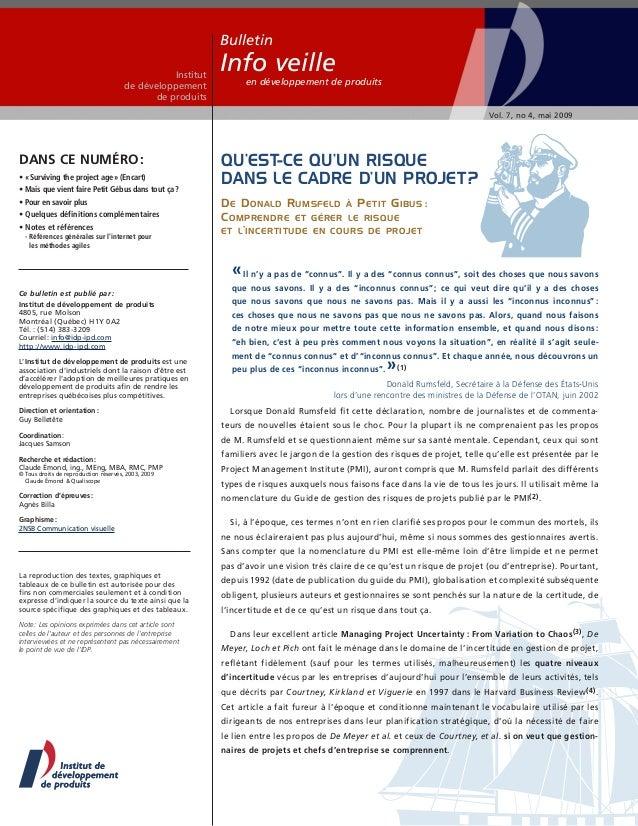 Bulletin Institut de développement de produits  Info veille  en développement de produits Vol. 7, no 4, mai 2009  Dans ce ...