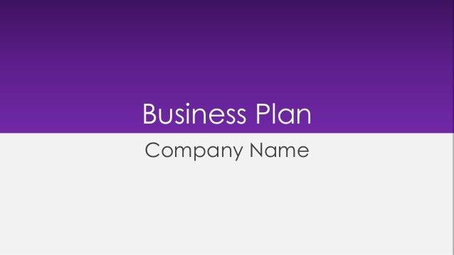 Business Plan Company Name