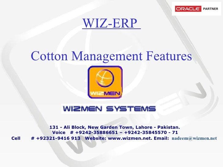 WIZ-ERP  Cotton Management Features