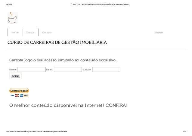 1/4/2014 CURSO DE CARREIRAS DE GESTÃO IMOBILIÁRIA | Corretor de Imóveis http://www.corretordeimoveis.gluc.info/curso-de-ca...