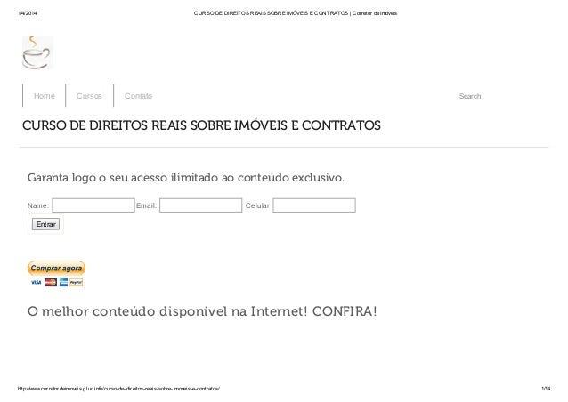 1/4/2014 CURSO DE DIREITOS REAIS SOBRE IMÓVEIS E CONTRATOS | Corretor de Imóveis http://www.corretordeimoveis.gluc.info/cu...