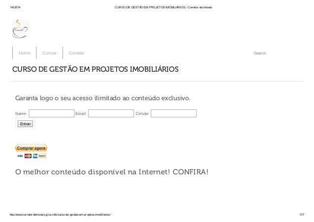 1/4/2014 CURSO DE GESTÃO EM PROJETOS IMOBILIÁRIOS | Corretor de Imóveis http://www.corretordeimoveis.gluc.info/curso-de-ge...
