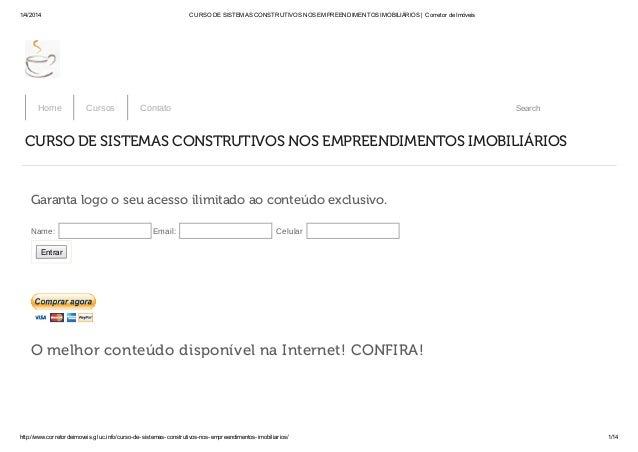 1/4/2014 CURSO DE SISTEMAS CONSTRUTIVOS NOS EMPREENDIMENTOS IMOBILIÁRIOS | Corretor de Imóveis http://www.corretordeimovei...