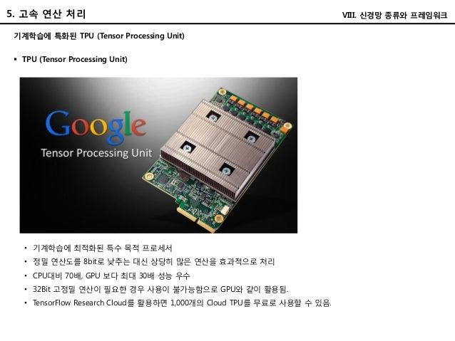 5. 고속 연산 처리 기계학습에 특화된 TPU (Tensor Processing Unit)  TPU (Tensor Processing Unit) • 기계학습에 최적화된 특수 목적 프로세서 • 정밀 연산도를 8bit로 ...