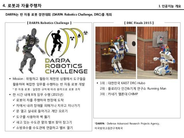 DARPA는 반 자동 로봇 경연대회 (DARPA Robotics Challenge, DRC)를 개최 【 DARPA Robotics Challenge 】 【 DRC Finals 2015 】  Mission : 위험하고 ...