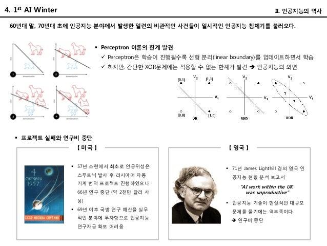 4. 1st AI Winter II. 인공지능의 역사 60년대 말, 70년대 초에 인공지능 분야에서 발생한 일련의 비관적인 사건들이 일시적인 인공지능 침체기를 불러오다.  Perceptron 이론의 한계 발견  Pe...