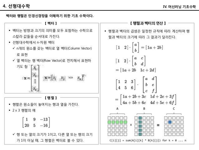 4. 선형대수학 벡터와 행렬은 인경신경망을 이해하기 위한 기초 수학이다. 【 벡터 】 【 행렬과 벡터의 연산 】  행렬과 벡터의 곱셈은 일정한 규칙에 따라 계산하며 행 렬과 벡터의 크기에 따라 그 결과가 달라진다. ...