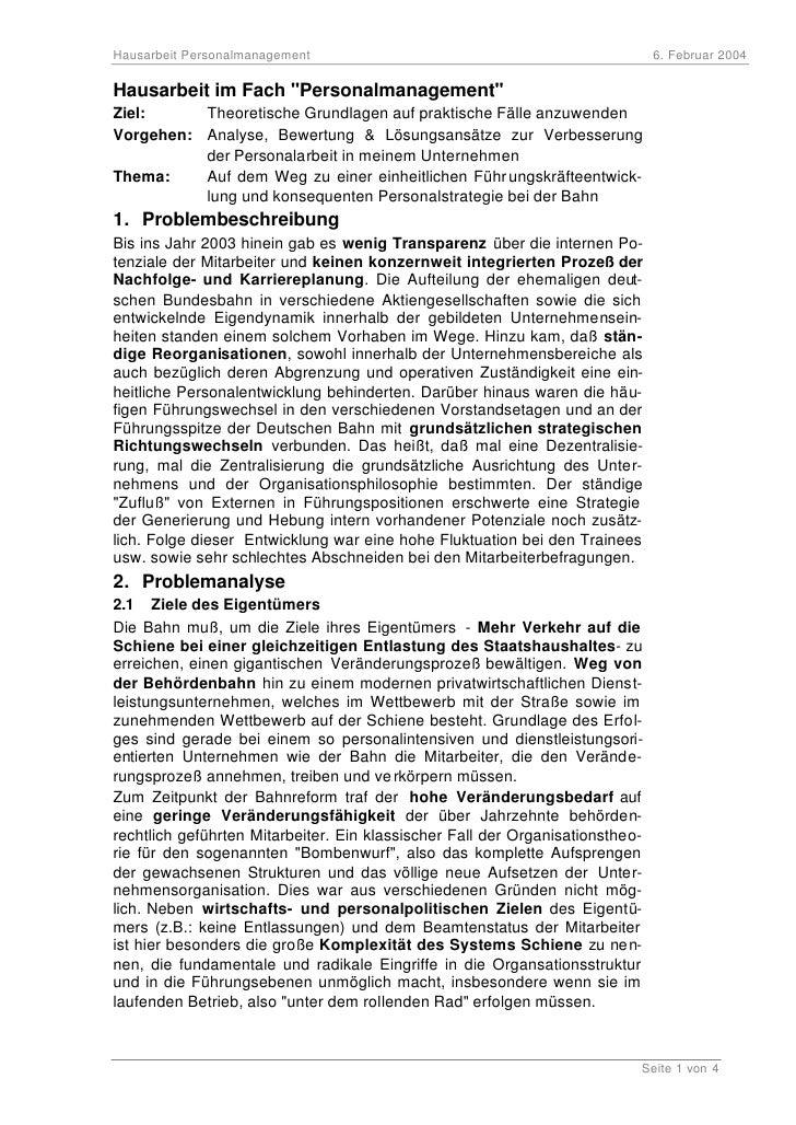 """Hausarbeit Personalmanagement                                                  6. Februar 2004  Hausarbeit im Fach """"Person..."""