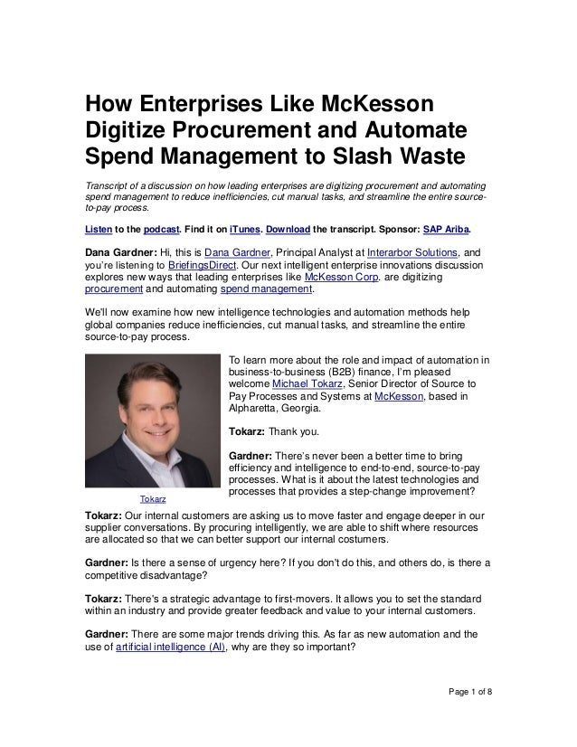 Page 1 of 8 How Enterprises Like McKesson Digitize Procurement and Automate Spend Management to Slash Waste Transcript of ...