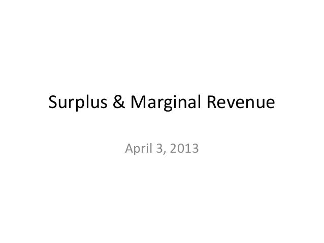 Surplus & Marginal Revenue        April 3, 2013