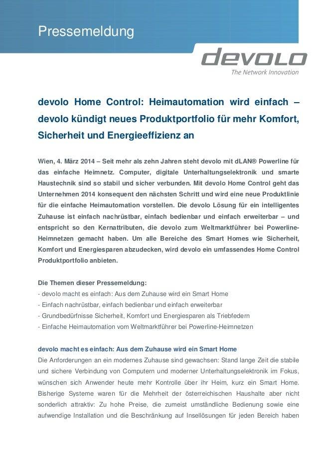 Pressemeldung devolo Home Control: Heimautomation wird einfach devolo kündigt neues Produktportfolio für mehr Komfort, Sic...