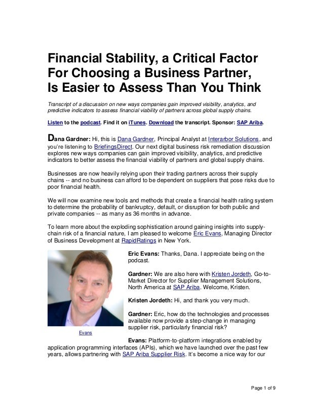 Page 1 of 9 Financial Stability, a Critical Factor For Choosing a Business Partner, Is Easier to Assess Than You Think Tra...