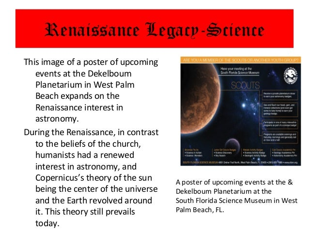 Renaissance Legacy-ScienceThis image of a poster of upcoming   events at the Dekelboum   Planetarium in West Palm   Beach ...