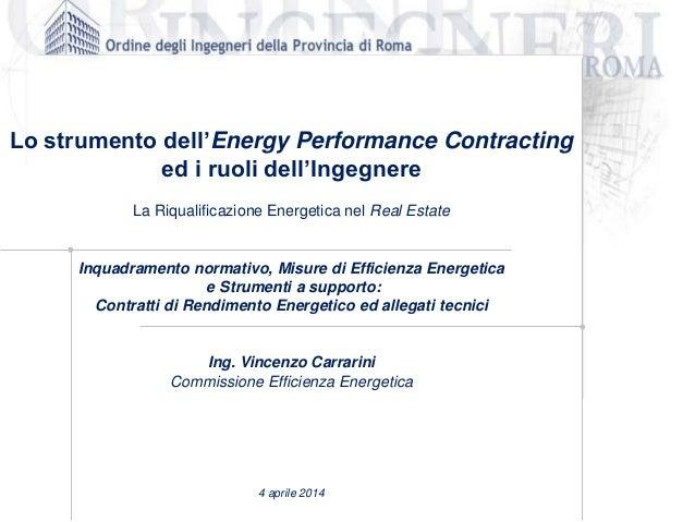 Lo strumento dell'Energy Performance Contracting ed i ruoli dell'Ingegnere La Riqualificazione Energetica nel Real Estate ...