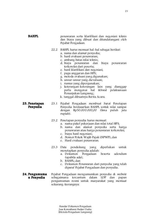 Sbd Jasa Konsultansi Badan Usaha Pengadaan Langsung