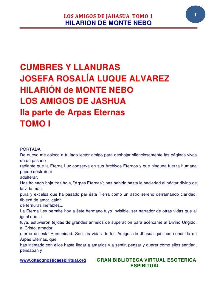 LOS AMIGOS DE JAHASUA TOMO 1                                        1                       HILARION DE MONTE NEBOCUMBRES ...