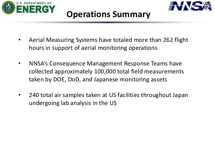 Operations Summary<br /><ul><li>Aerial Measuring Systems have totaled more than 262 flight hours in support of aerial moni...
