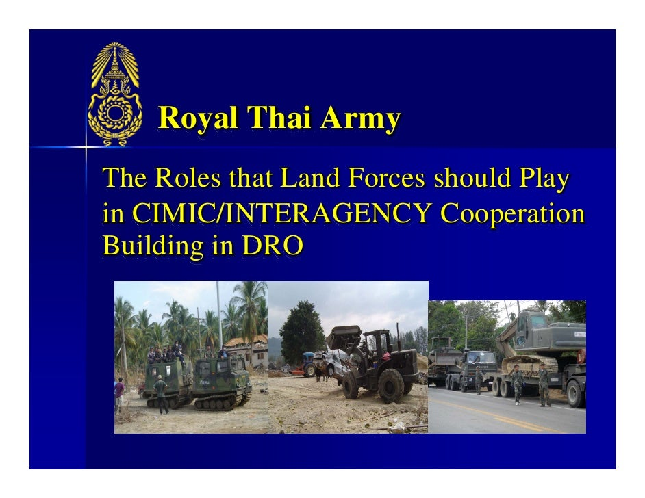 Royal Thai Army The Roles that Land Forces should Play in CIMIC/INTERAGENCY Cooperation Building in DRO