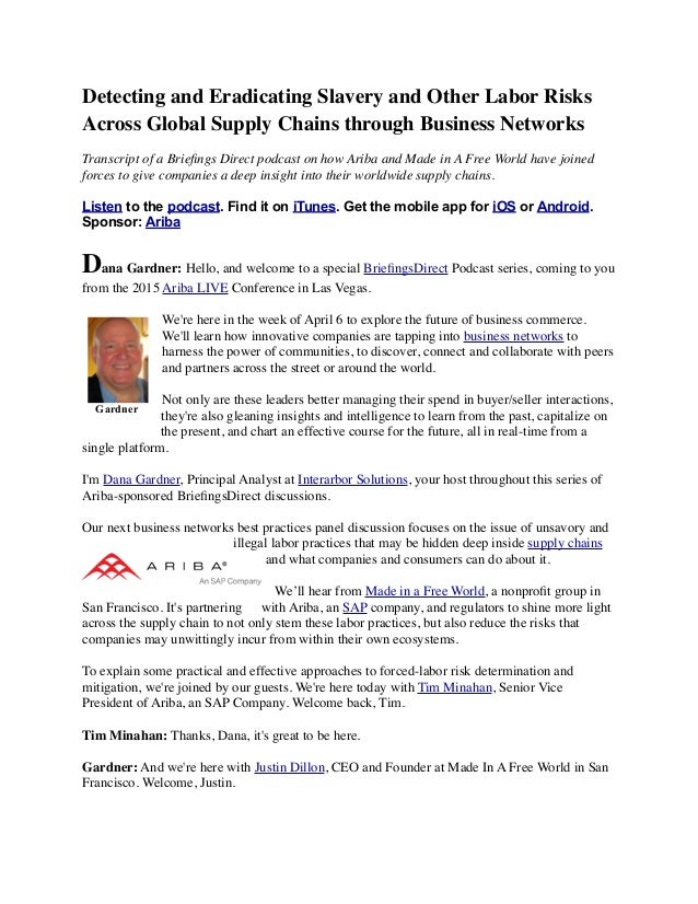 Detecting and Eradicating Slavery and Other Labor Risks Across Global Supply Chains through Business Networks Transcript o...