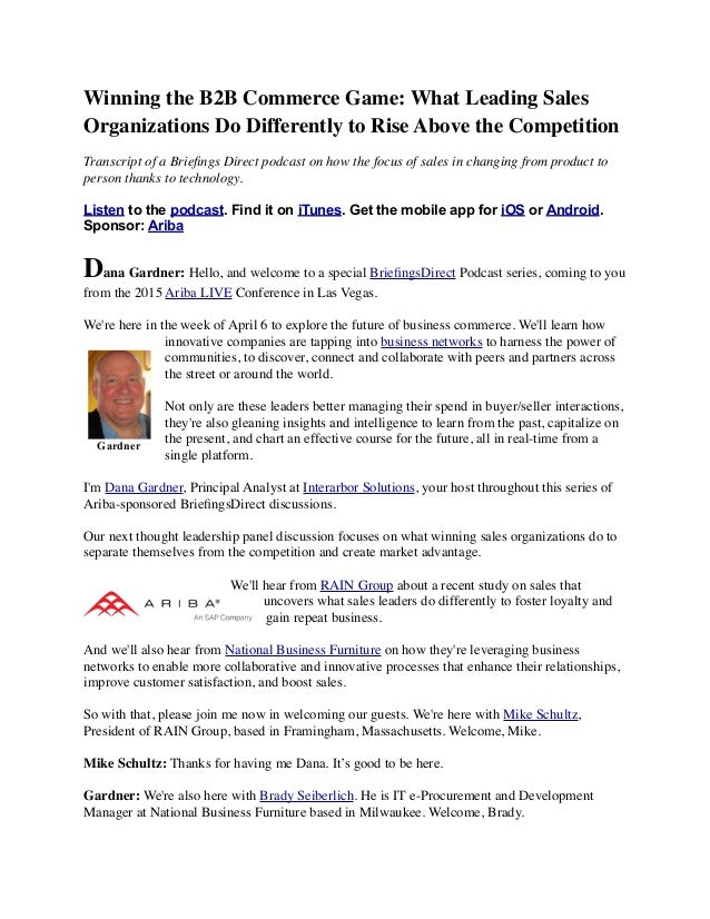Winning the B2B Commerce Game: What Leading Sales Organizations Do Differently to Rise Above the Competition Transcript of...
