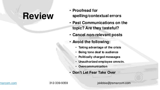 Review • Proofread for spelling/contextual errors • Past Communications on the topic? Are they tasteful? • Cancel non-rele...