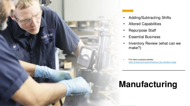 Manufacturing • Adding/Subtracting Shifts • Altered Capabilities • Repurpose Staff • Essential Business • Inventory Review...