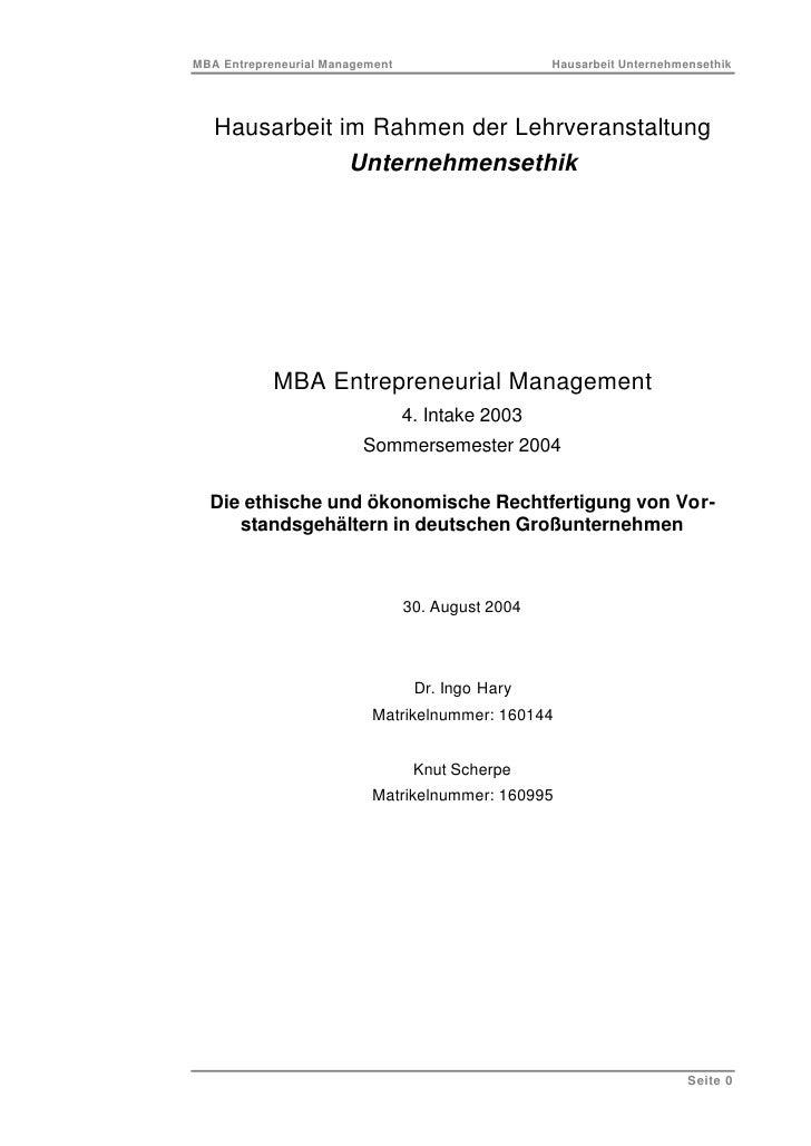 MBA Entrepreneurial Management                     Hausarbeit Unternehmensethik        Hausarbeit im Rahmen der Lehrverans...