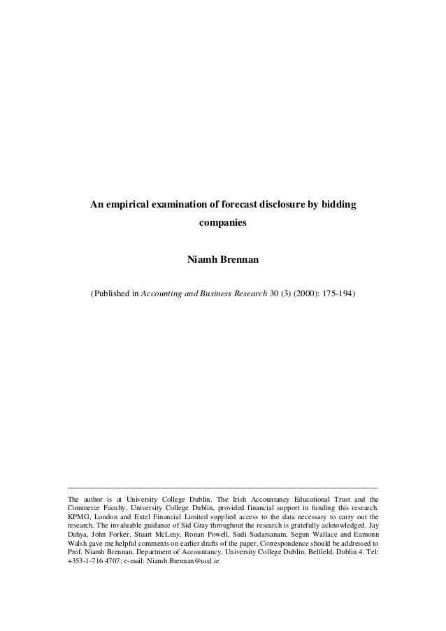 An empirical examination of forecast disclosure by bidding                                          companies             ...