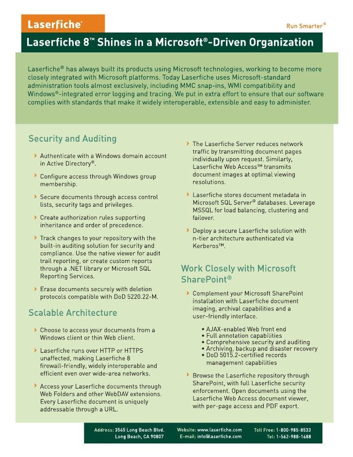 Laserfiche 8 Shines In A Microsoft Driven Organization