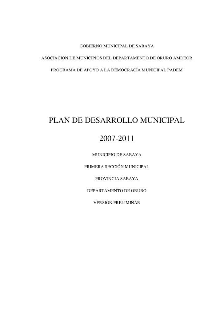 GOBIERNO MUNICIPAL DE SABAYAASOCIACIÓN DE MUNICIPIOS DEL DEPARTAMENTO DE ORURO AMDEOR   PROGRAMA DE APOYO A LA DEMOCRACIA ...